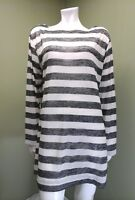 LA BLANCA Women's Ivory & Black Striped Long Sleeve Top~Size XL