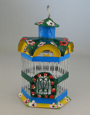 MEXICAN METAL DECORATIVE BIRD CAGE TIN FOLK ART - GREEN 4
