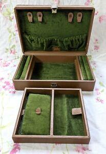 Vintage Large Brown Leather Green Velvet Jewellery Box, Jessica