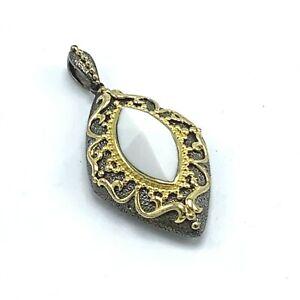 Gems en Vogue Palladium Silver White Agate Pendant