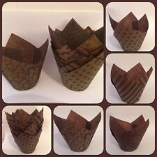 50 Brown & Gold Patterned Tulip Shaped Muffin Cake Cases Wraps for Baking