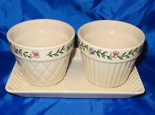 LONGABERGER POTTERY Flower Pot Set Of Two With Plate EARLY BLOSSUMS Motif EUC