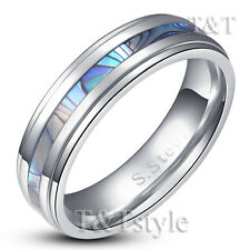 T&T 6mm Stainless Steel Mother Pearl Wedding Band Ring Size 10 (R203)