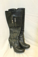 Guess Womens Black Leather Size 7.5 Boots Knee Length WORN HEELS