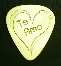 TE  AMO - I LOVE YOU - Solid Brass Guitar Pick, Acoustic, Electric, Bass