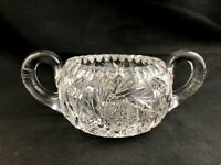 🟢 Antique FRY Cut ABP Glass OXFORD Pattern No. 4546 Handled Sugar Bowl - Signed