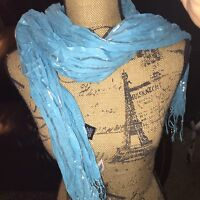 Blue & Silver Scarf NEW Turquoise Beautiful Light Fun Cute