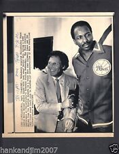 Moses Malone & Harold Katz 1982 Small Vintage A/P Laser Wire Photo with caption