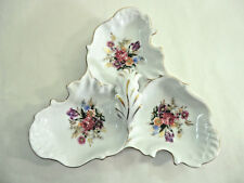 Vintage Divided Triple Dish Flowers Roses Gold Trim Candy Nuts Trinkets Rings