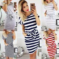 UK Womens Short Sleeve stripe Bodycon Midi Dress Ladies Summer Striped Dress