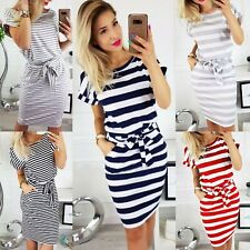 UK Womens Short Sleeve stripe Bodycon Midi Dress Ladies Summer Striped Dress