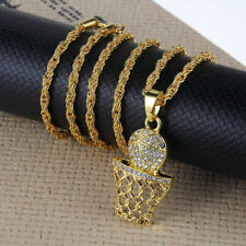 "Hip Hop Gold Plated Basketball and Net Rhinestone Pendant 27"" Chain Necklace"