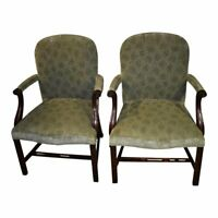 Vintage Pair of Smith & Watson Chinese Chippendale Style Mahogany Accent Chairs
