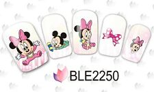 Nail Art Water Decals Stickers PINK Baby Mickey Mouse Minnie Mouse Bows (2250)