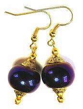 New listing Short Gold Purple Metallic Earrings Glass Bead Vintage Antique Style Drop/Dangle