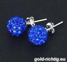 Shamballa Ohrstecker blau (Ohrringe Ohrschmuck Damenschmuck Silber Zirkonia) NEU
