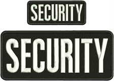 SECURITY EMBROIDERY PATCH 4X10 AND 2X5 HOOK ON BACK  BLK/WHITE