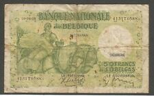 Belgium 50 Francs, 10.6.1938; Vg; P-106; Horses, Ship; Sign: Sontag, Janssen