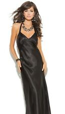 Long Nightgown Large L Women Black Charmeuse Satin Halter Lingerie Nightie Sexy
