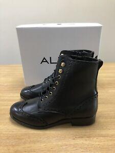 LADIES ALDO GLORFIDIEN LACE UP BLACK ANKLE BOOT UK 5
