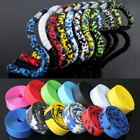 2 Bike Cycling Road Bike Sports Bicycle Cork Handlebar Rubber Tape Wrap + 2 Bar