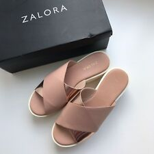 Zalora Womens Pink Crossover Slip On Flatforms Leather Sandals Size 37 / AU 6