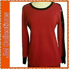 Women's NWT Red and black sweater with long gold button sleeves. Size M