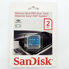 SanDisk Memory Stick PRO Duo 2GB Memory Card For Sony PSP Clear Blue OEM SEALED