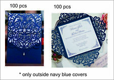 200PCS BLUE Printing Laser Cut Personalized Wedding Invitations Cards Cover