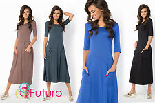 Ladies Casual Wear to Work Round Neck Half Sleeve Tea Length Office Dress FM30