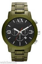 Armani Exchange AX1154 Men's Military Green Aluminum Bracelet Black Dial Watch