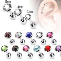 2X Surgical Steel Gem Barbell Ear Cartilage Tragus Helix Stud Earrings Piercing