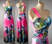 Pink One Shoulder Formal Rose Floral Print Evening Gown Long 229 mv Dress S M L
