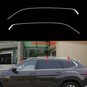 6X For Volkswagen Atlas 2018-2019 Stainless Chrome Upper Window Strip Cover trim