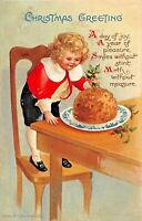 CHRISTMAS GREETING~DAY OF JOY~YOUNG CHILD EATS PUDDING-1915 CLAPSADDLE POSTCARD