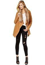 NWT Bar III Tan Faux Fur Collar Wool Blend Cardigan Jacket Open Front L $119
