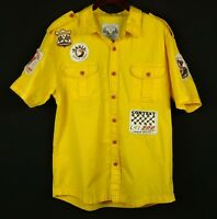 SMOKE RISE Mens Yellow Shirt BD SS L 100% Cotton Pit Crew Patches Red Stitching