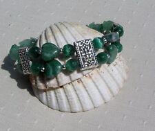 "Green Jade, Green Aventurine & Cats Eye Crystal Gemstone Bracelet ""Shannon"""