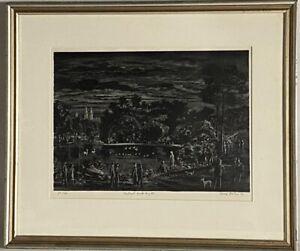 "Adolf Dehn Original Etching S/N ""Central Park Night"""
