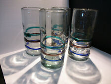 Set of 4 Recycled Hand Blown Color Banded 6 inch tall Tumblers