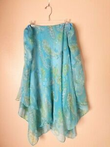 Lauren Ralph Lauren Silk Turquoise Paisley Flare Layered Skirt Plus Sz 2X 149.00