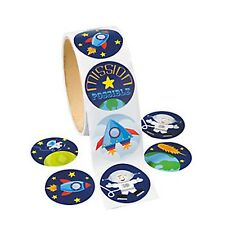 OUTER SPACE PARTY Space Rocket and Astronaut Stickers Pack of 50 - Free Postage