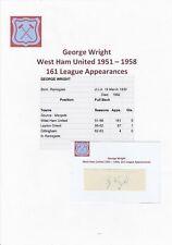 George Wright West Ham Utd 1951-1958 RARA Originale Firmato a Mano Taglio/Card