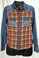 VANILLA STAR Western Denim Plaid Pearl Snap Shirt Womens XS Checkered Junior