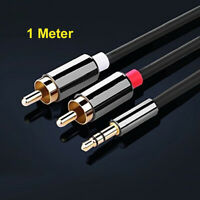 1M Meter 3.5mm Jack Stereo Audio Plug to Twin 2 X RCA PHONO Male Gold Cable Lead