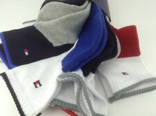 Men's TOMMY HILFIGER Blue Red Gray COTTON Quarter Crew Socks - 6 Pack - $36 MSRP