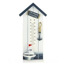 Wall Nautical Beach Hut style Thermometer with Boat & Anchor - 1st Class Post!