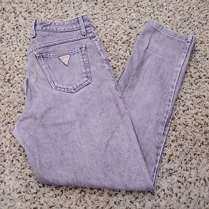 Vintage 90s Guess Lavender Purple Denim Jeans Made In USA Mens Size 30x30