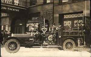 Bay City MI Fire Engine & Station c1910 Real Photo Postcard ++PHOTOGRAPHY