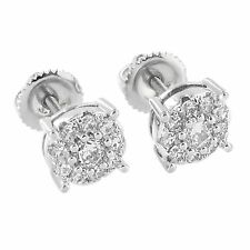 Halo Cluster Prong Set Earrings Simulated Diamonds 14K White Gold Finish